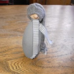 Gray Tomte with Striped Scarf