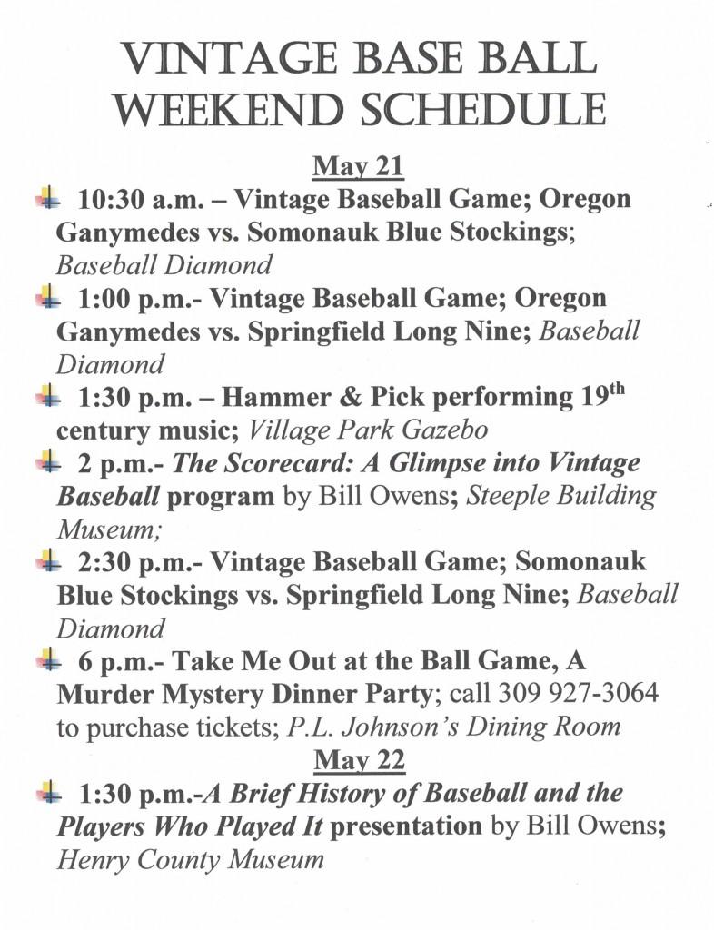 Vintage Base Ball Weekend schedule